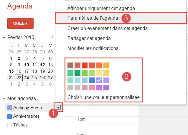 google-agenda-paramètres